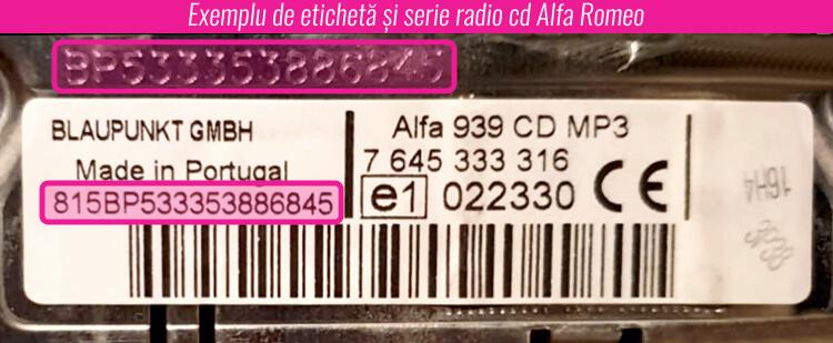 decodare eticheta serie radio alfa romeo