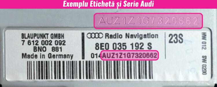 decodari radio cd casetofoane audi eticheta serie