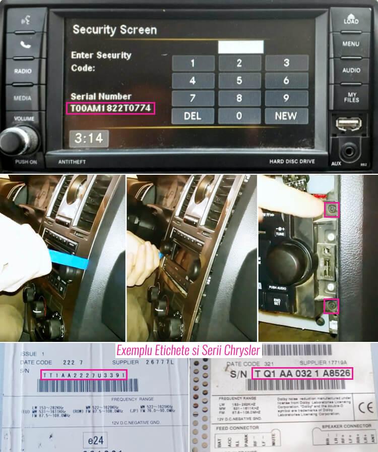 extragerea decodare radio casetofon navigatie chrysler