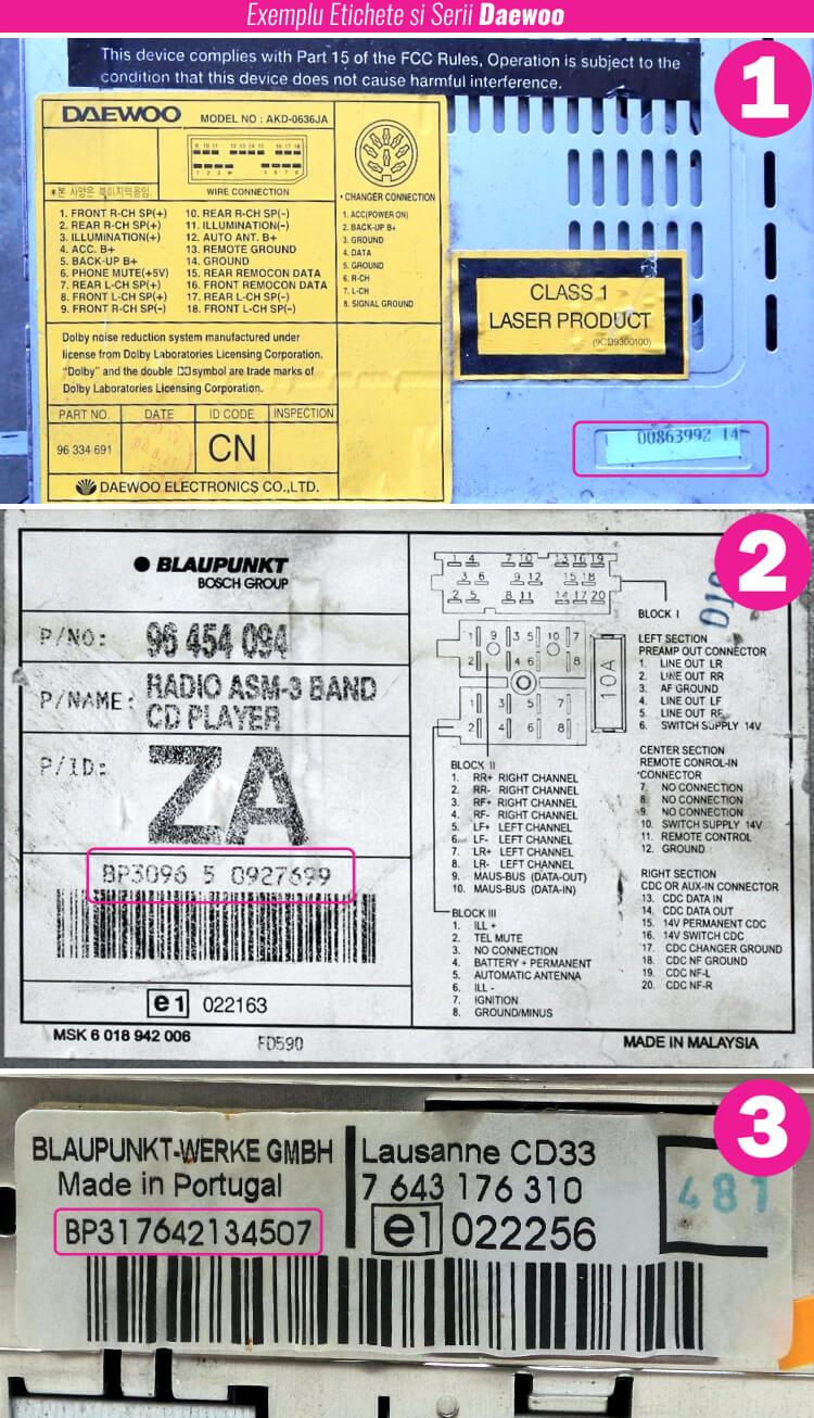 decodari radio cd casetofoane daewoo eticheta serie
