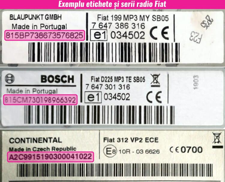 decodari radio cd casetofoane fiat eticheta serie