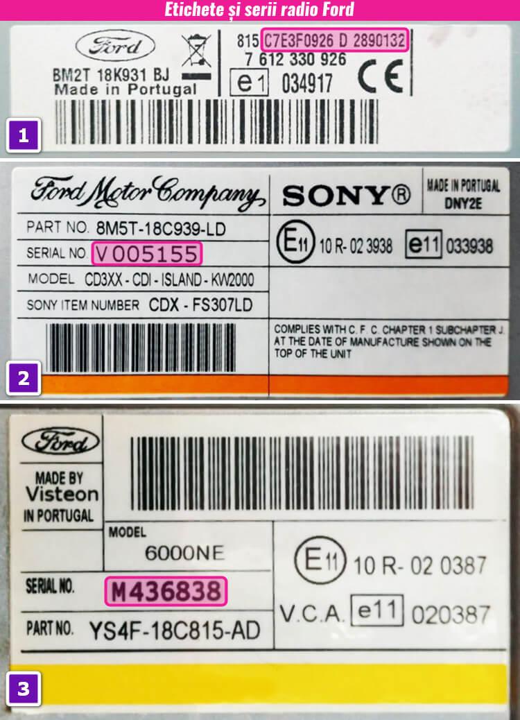 decodari radio cd casetofoane ford eticheta serie
