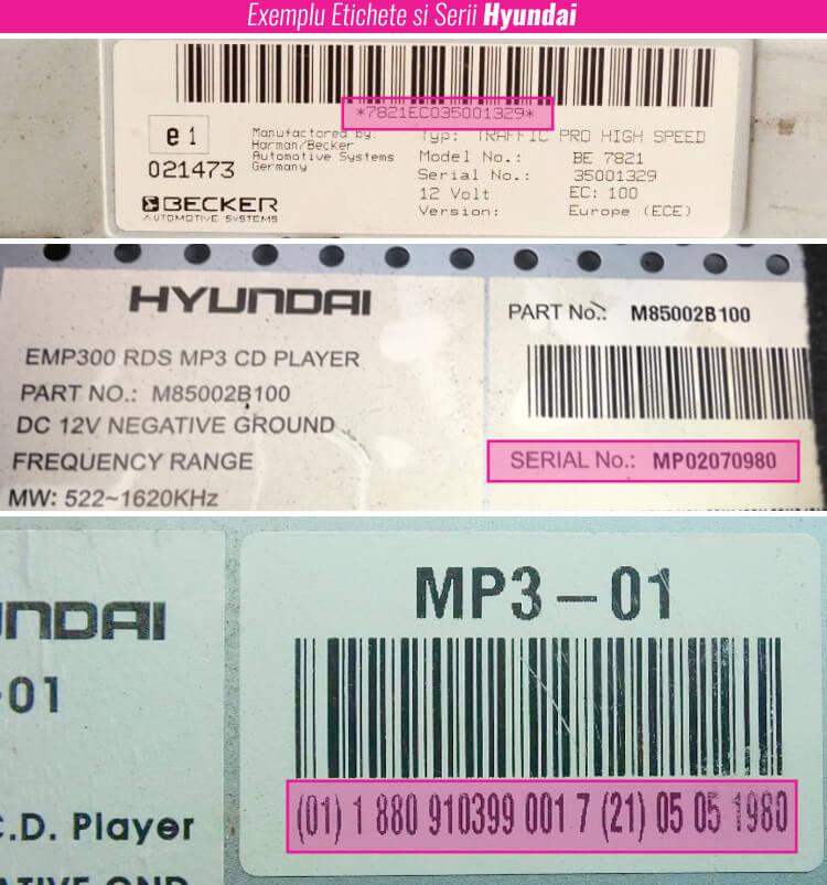 decodari radio cd casetofoane hyundai eticheta serie