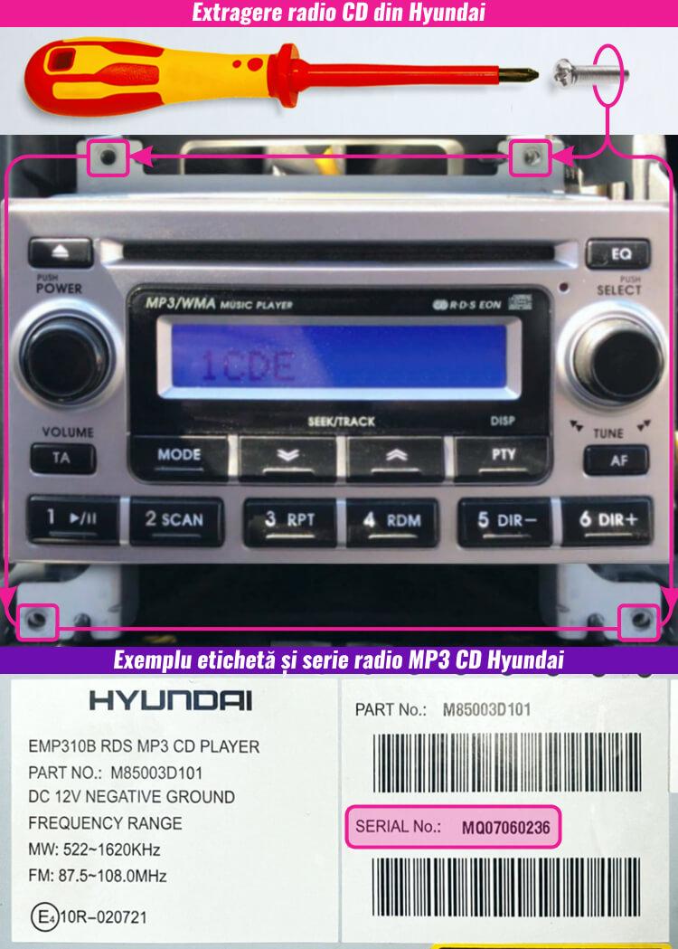 decodari radio cd hyundai