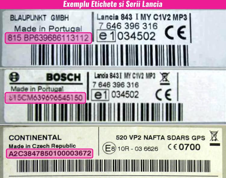 decodari radio cd casetofoane lancia eticheta serie