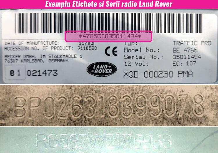decodari radio cd casetofoane land rover eticheta serie