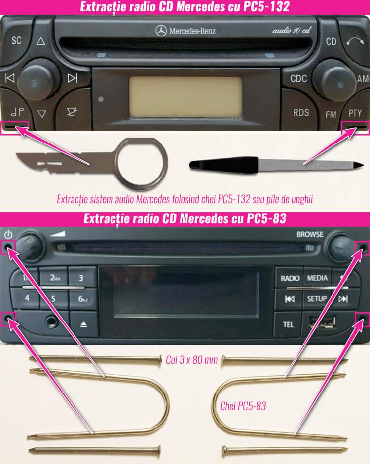 extragerea decodare radio casetofon mercedes