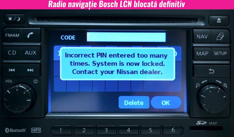 radio navigatie nissan bosch blocata