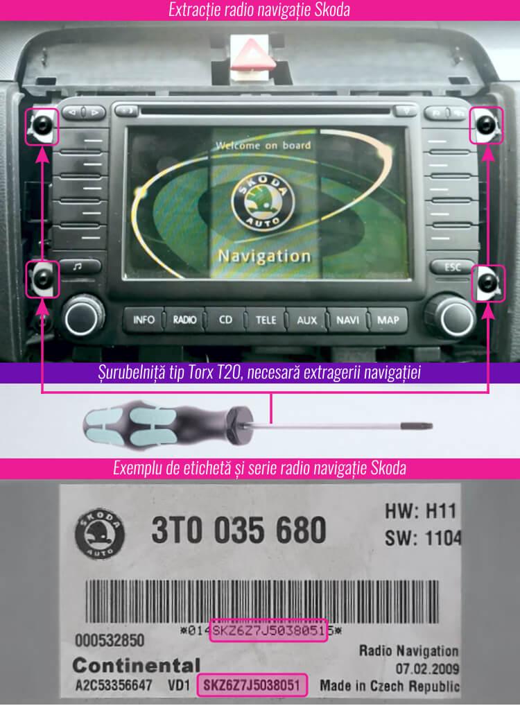 decodare radio casetofon cd navigatie skoda