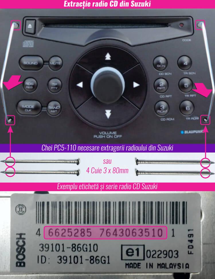 decodare radio casetofon cd mp3 suzuki